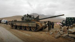 Les forces du régime aux abords de Palmyre le 2 mars.
