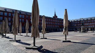 Restaurant terraces remain closed at the usually overcrowded Plaza Mayor in central Madrid after the government announce a nationwide lockdown on March 14, 2020.