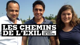 Adel Gastel, Karim Hakiki et Fernande van Tets, les envoyés spéciaux de France 24 sur la route des Balkans.