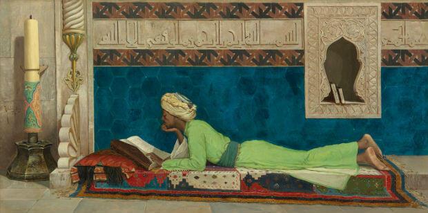 Détail du tableau Osman Hamdi Bey (Istanbul, 1842 – île de Galatasaray, 1910). Jeune Emir à l'étude, Istanbul, 1878.