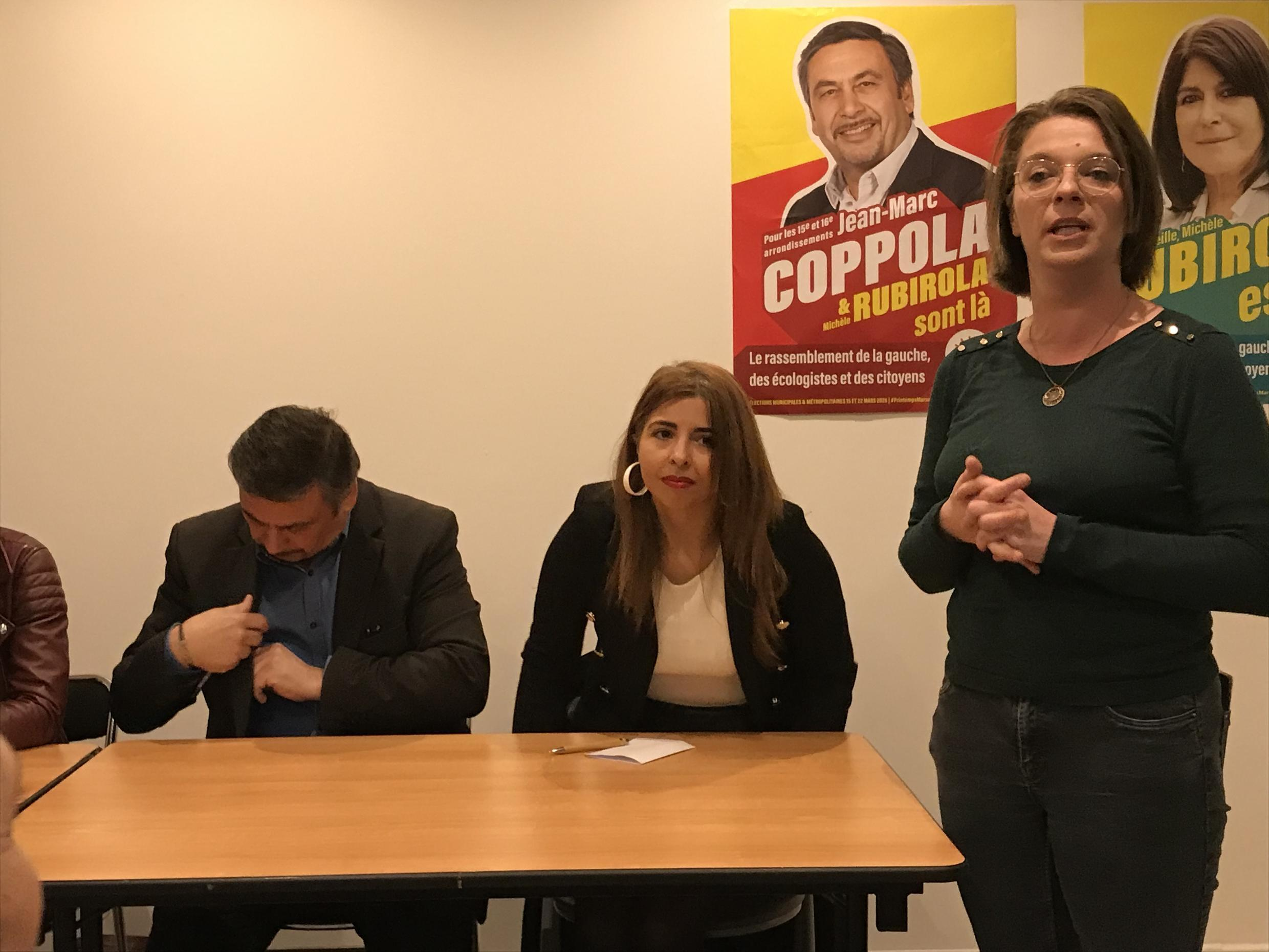 Teacher Farida Hamadi addresses a meeting of the left-wing Printemps marseillais platform, led by Jean-Marc Coppola.