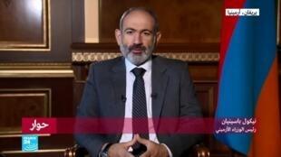 صورة ملتقطة من شاشة فرانس24 لرئيس وزراء أرمينيا