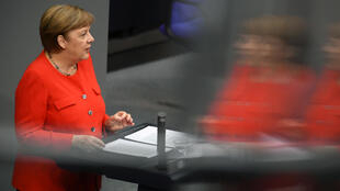 German Chancellor Angela Merkel addresses the lower house of parliament in Berlin, Germany, on June 18, 2020.