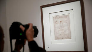 """The Vitruvian Man"", a drawing by Leonardo da Vinci is pictured during a press visit of the ""Leonardo da Vinci"" exhibition at the Louvre Museum in Paris, France, October 20, 2019."