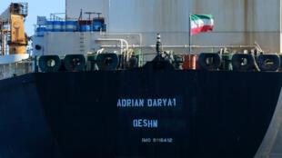 Un drapeau iranien flotte à bord du pétrolier Adrian Darya1, le 18août2019.
