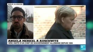 """2019-12-06 15:07 Luc André, correspondant à Berlin: """"Angela Merkel est """"venue apporter un chèque"""" à Auschwitz"""
