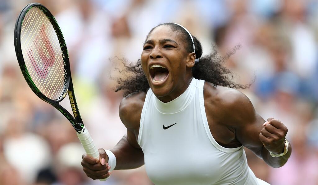 Serena Williams, samedi 9 juillet 2016, lors de sa victoire à Wimbledon face à Angelique Kerber.