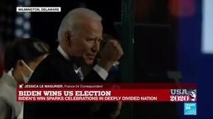 2020-11-08 03:01 Biden defeats Trump for White House, says 'time to heal'