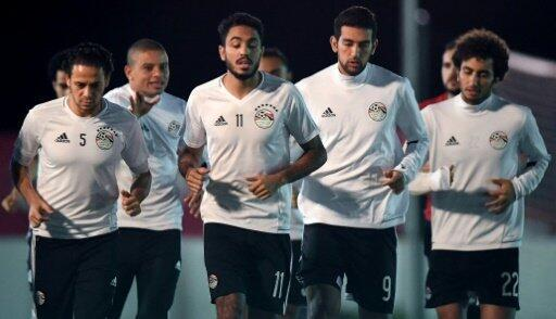 لاعبو المنتخب المصري خلال التدريب في بور جانتي
