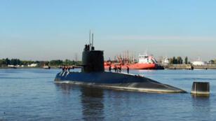 Photo prise en 2014 du sous-marin San Juan dans le port de Buenos Aires.