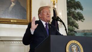 El presidente de Estados Unidos, Donald Trump, anuncia ataques militares contra Siria mientras pronunciaba un comunicado desde la Casa Blanca en Washington, Estados Unidos, el 13 de abril de 2018.