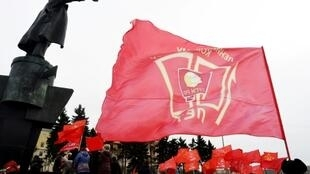 Russian Communists rally in Saint Petersburg to protest the government's social economic policy