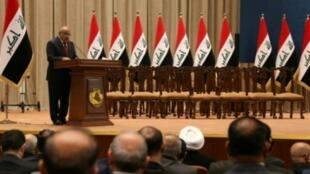 رئيس الحكومة المكلف عادل عبد المهدي يتحدث أمام البرلمان بعد التصويت على الثقة 24 تشرين الأول/أكتوبر 2018