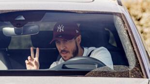 Eden Hazard à son arrivée au centre d'entraînement du Real Madrid pour y subir des tests de dépistage du Covid-19, le 6 mai 2020à de Valdebebas