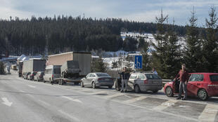 The coronavirus checks led to long lines of traffic at crossings like this one on the Czech-German border