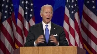 Democratic presidential nominee Joe Biden delivers his acceptance speech at the Democratic National Convention on August 20, 2020