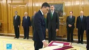 الاشتراكي بيدرو سانشيز يؤدي اليمين الدستورية السبت 2 حزيران/يونيو 2018.