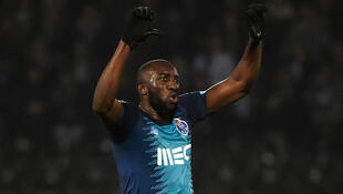 FC Porto's Malian forward Moussa Marega reacts after hearing racists chants during the Portuguese league football match between Vitoria Guimaraes SC and FC Porto at the Dom Alfonso Henriques stadium in Guimaraes on February 16, 2020.