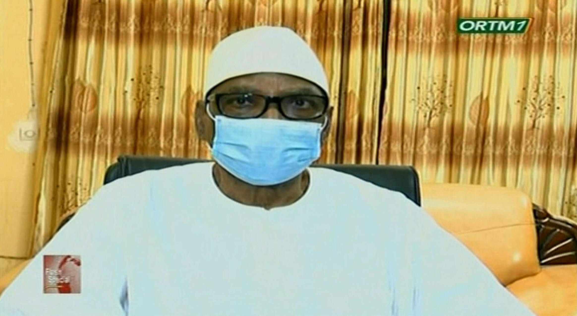 Malian President Ibrahim Boubacar Keïta announces his resignation on national television on August 19, 2020.