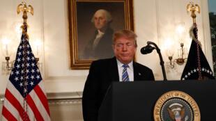El presidente de EE. UU., Donald Trump, habla sobre el tiroteo masivo en una escuela secundaria de Florida en un discurso nacional de la Casa Blanca en Washington, EE.UU., 15 de febrero de 2018.