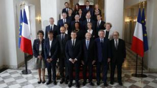 Le premier gouvernement Macron à l'Élysée, le 18 mai 2017.