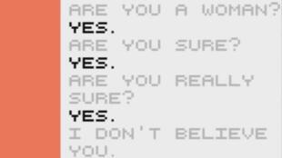 """Capture d'écran du jeu """"Dys4ia"""" créée par Anna Anthropy."""