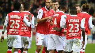 Les joueurs de Reims lors d'un match contre Brest, le 7 mars 2020 au stade Auguste Delaune