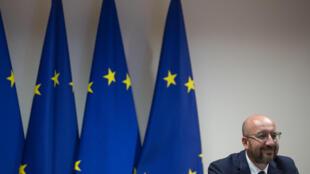Le président du Conseil européen Charles Michel, lors d'une visioconférence à Bruxelles, le 15 juin 2020