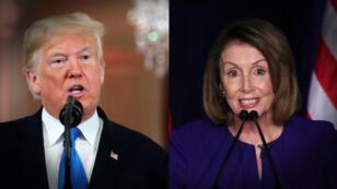 El presidente Donald Trump y la líder demócrata Nancy Pelosi, quien suena para presidir la Cámara de Representantes. Con fotos de Reuters.