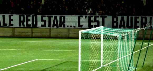 "A banner reading ""Red Star is Bauer"" at the team's historic stadium in Saint-Ouen. (Photo: Wikimedia creative commons)"