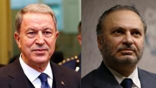 وزير الدولة الإماراتي للشؤون الخارجية أنور قرقاش (يمين) ووزير الدفاع التركي خلوصي أكار (يسار).