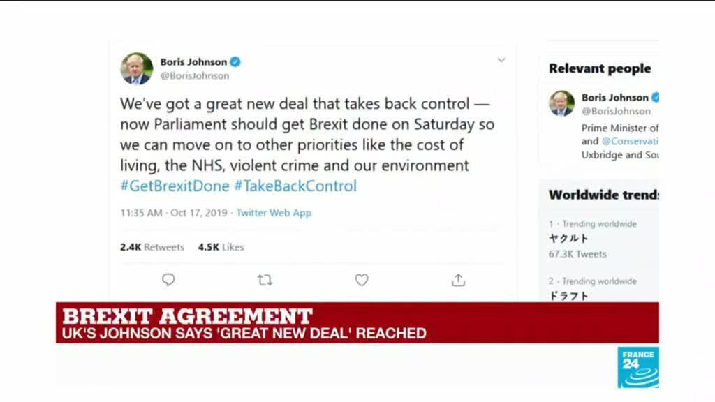 2019-10-17 12:00 Brexit: EU, UK say an agreement has been reached