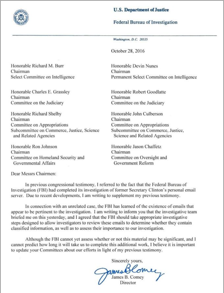 Comey's letter to Congress