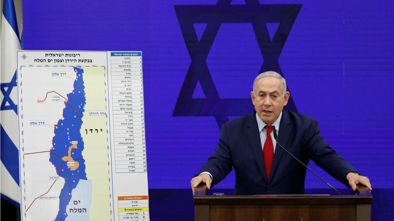 El primer ministro israelí, Benjamin Netanyahu, hace una declaración en Ramat Gan, cerca de Tel Aviv, Israel, 10 de septiembre de 2019.