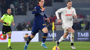 AS Roma's Nicolo Zaniolo (C) suffered a ruptured ACL playing against Juventus on January 12.