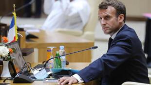 الرئيس الفرنسي خلال قمة مجموعة الدول الخمس وفرنسا في نواكشوط. 30/06/2020