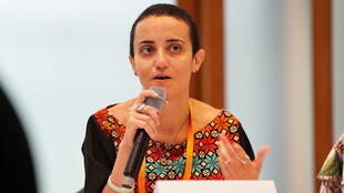 Lina Attalah, co-founder and editor-in-chief of the Egyptian independent media outlet Mada Masr, speaking at the Deutsche Welle Global Media Forum in June 2018.