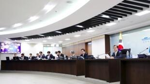 Les membres du Conseil de sécurité de l'ONU réunis pour discuter de la Corée du Nord, le 11 septembre 2017 à New York.