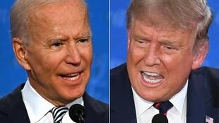 Democratic presidential candidate and former US Vice President Joe Biden, left, and US President Donald Trump speaking during the first presidential debate in Cleveland, Ohio, on September 29, 2020.