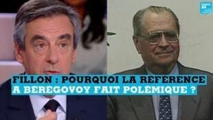 François Fillon, candidat LR à la présidentielle (à gauche) et Pierre Bérégovoy, ancien Premier ministre (à droite).