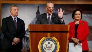U.S. Senate Minority Leader Chuck Schumer (D-NY) addresses a news conference with Senators Dick Durbin (D-IL) and Mazie Hirono (D-HI) prior to the resumption of the Senate impeachment trial of U.S. President Donald Trump at the U.S. Capitol in Washington, U.S., January 30, 2020.