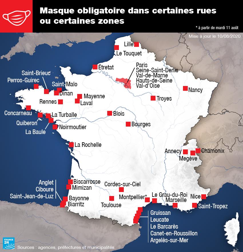 Les villes françaises dans lesquelles le port du masque est obligatoire en extérieur dans certaines rues, au 10 août 2020..