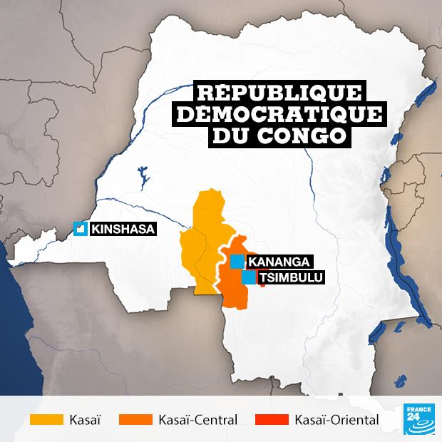 Les trois provinces du Kasaï, en RD Congo