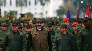 Venezuela's President Nicolas Maduro is seen alongside troops after an aborted US-backed uprising against him
