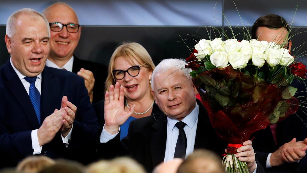 El líder del partido gobernante de Polonia Ley y Justicia (PiS) Jaroslaw Kaczynski saluda después de que se anuncian los resultados a boca de urna en Varsovia, Polonia, el 13 de octubre de 2019.