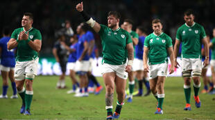 Ireland's Andrew Porter celebrates with teammates after the match against Samoa, October 2, 2019.