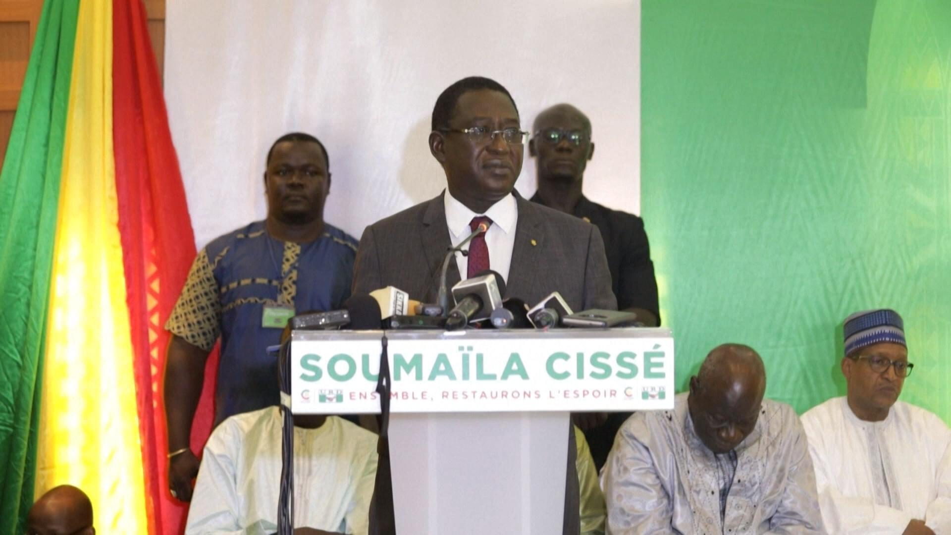 Soumaïla Cissé, chef de l'opposition malienne, lors d'un meeting politique.