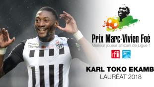 Karl Toko Ekambi, lauréat du Prix Marc-Vivien Foé 2018 avec Angers.