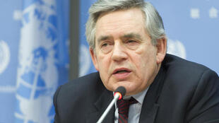 Gordon Brown speaks to reporters at the UN on Wednesday.