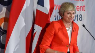 Theresa May lors du sommet européen de Salzbourg, le jeudi 20 septembre 2018.
